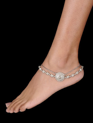 Tribal Silver Anklet with Floral Motif