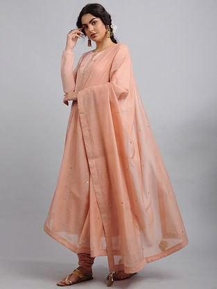 Peach Chanderi Cotton Dupatta with Zari and Sequins