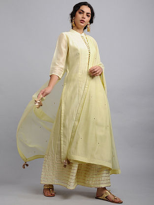 Yellow Chanderi Cotton Dupatta with Zari and Sequins