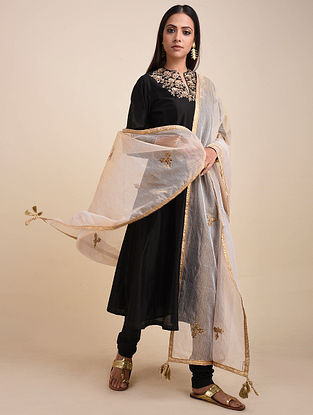 Gold Hand Embroidered Zari Kota Dupatta