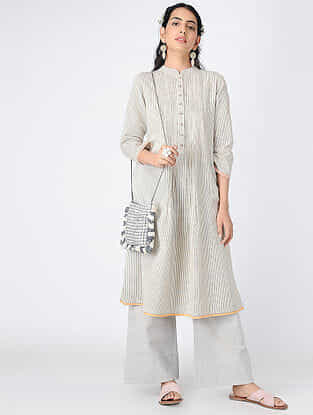 Ivory-Black Pintuck Handloom Khadi Tunic with Hand-embroidered Buttons