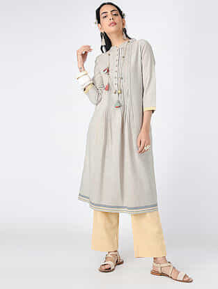 Grey Pintuck Handloom Khadi Tunic with Hand-embroidered Buttons