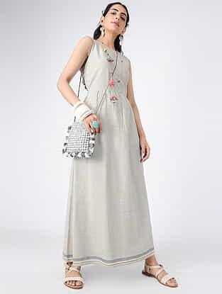 Grey Handloom Khadi Maxi Dress