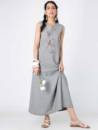 Black-White Cotton Maxi Dress