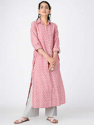 Pink Button-up Cotton Kurta