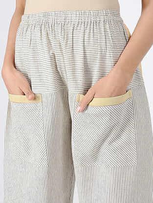 Ivory-Black Elasticated Waist Handloom Khadi Pants