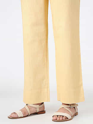 Yellow Elasticated Waist Cotton Pants