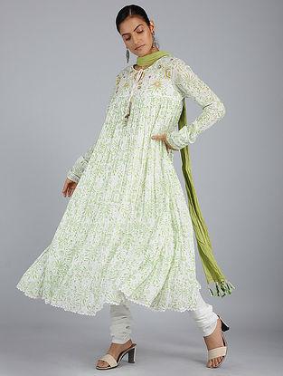 Ivory-Green Block-Printed Voile Kurta