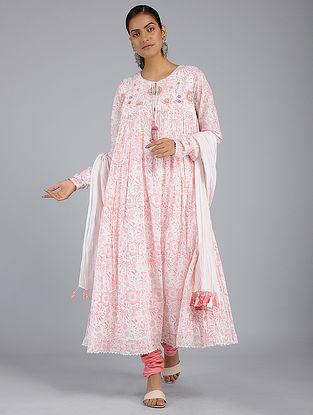 Ivory-Pink Block-Printed Voile Kurta