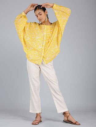 Yellow Block-Printed Voile Top