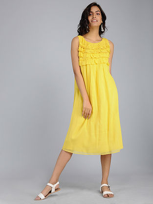 Yellow Frill Voile Dress