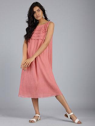 Dark Pink Frill Voile Dress