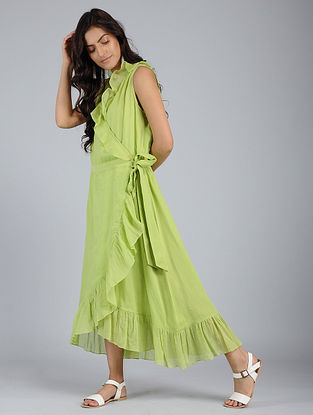 Green Frill Voile Wrap Dress with Skirt Slip (Set of 2)