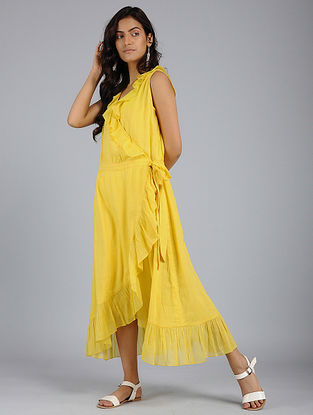 Yellow Frill Voile Wrap Dress with Skirt Slip (Set of 2)