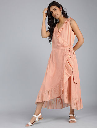 Peach Frill Voile Wrap Dress with Skirt Slip (Set of 2)