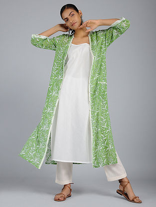 Green Block-Printed Voile Tunic with Slip (Set of 2)