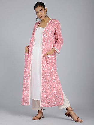 Pink Block-Printed Voile Tunic with Slip (Set of 2)
