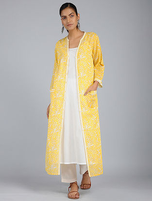 Yellow Block-Printed Voile Tunic with Slip (Set of 2)