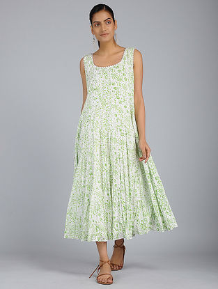 Ivory-Green Block-Printed Voile Dress