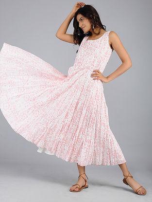 Ivory-Pink Block-Printed Voile Dress