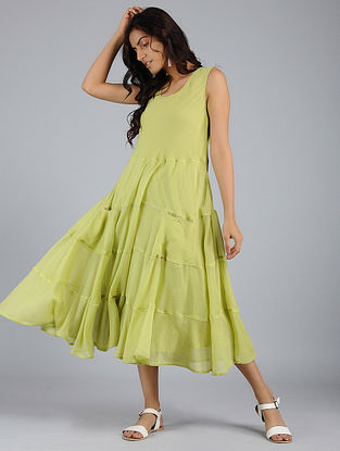 Green Tiered Voile Dress