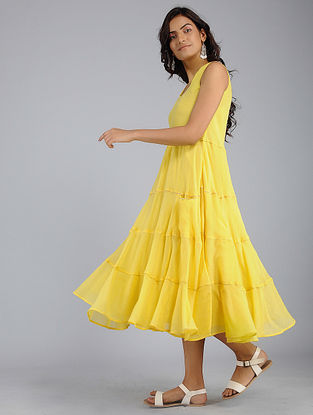 Yellow Tiered Voile Dress