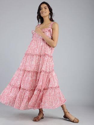Pink Block-Printed Voile Dress
