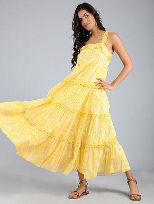 Yellow Block-Printed Voile Dress