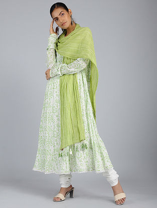 Green Hand-embroidered Voile Dupatta
