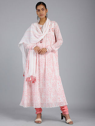 Ivory-Pink Hand-embroidered Voile Dupatta