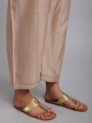 Pink Chanderi Straight Pyjamas