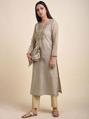 Grey Hand Embroidered Chanderi Silk Tissue Kurta