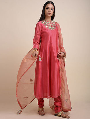 Coral Hand Embroidered Chanderi Kurta