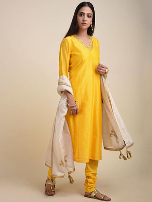 Yellow Embroidered Chanderi Kurta