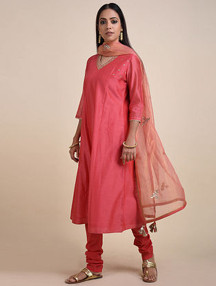 Coral Embroidered Chanderi Kurta