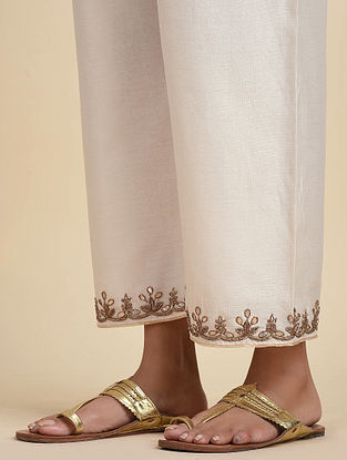 Ivory Gold Hand Embroidered Chanderi Pants