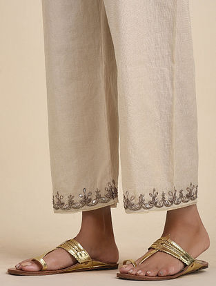 Gold Hand Embroidered Chanderi Pants