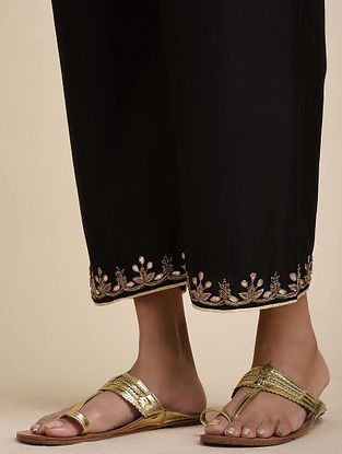 Black Hand Embroidered Chanderi Pants