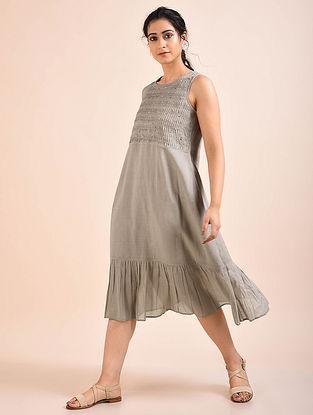 Taupe Pintucks Mul Dress