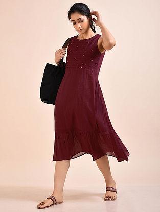 Burgundy Pintucks Mul Dress