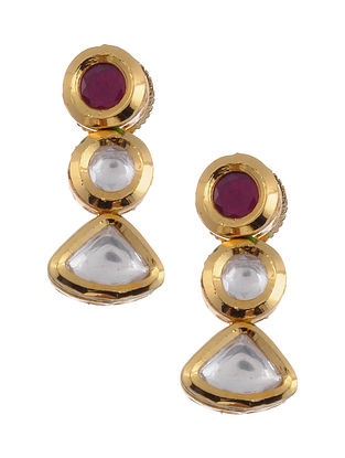 Maroon Gold Tone Kundan Earrings