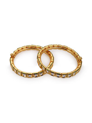 Gold Tone Kunndan Bangles (Set of 2)