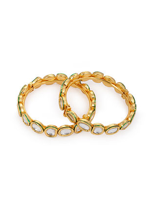 Gold Tone Kundan Bangles (Set of 2)