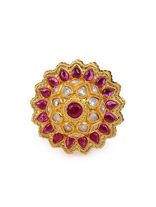 Pink Gold Tone Kundan Ring