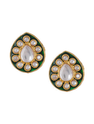 Green Gold Tone Kundan Enameled Earrings
