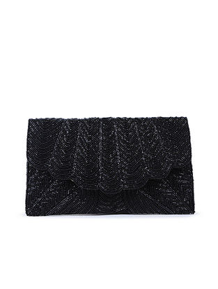 Black Hand-Embroidered Satin Flapover Clutch