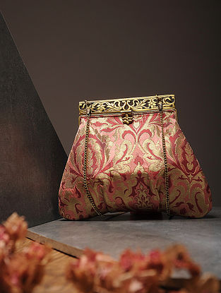Peach-Red Handcrafted Brocade Silk Batuwa