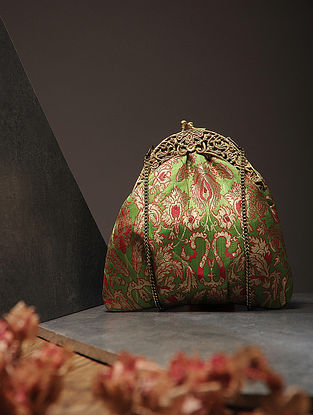 Green Handcrafted Brocade Silk Batuwa