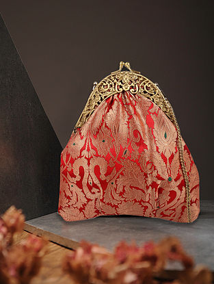 Red Handcrafted Brocade Silk Batuwa