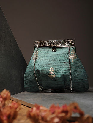 Aqua Green Handcrafted Brocade Silk Batuwa